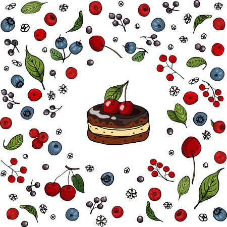 A set of hand-drawn berries isolated and a sweet berry biscuits. Cranberry, Elderberry, Blueberry, Ð¡herry, Red currant and their flowers and leaves on a white background. Çizim