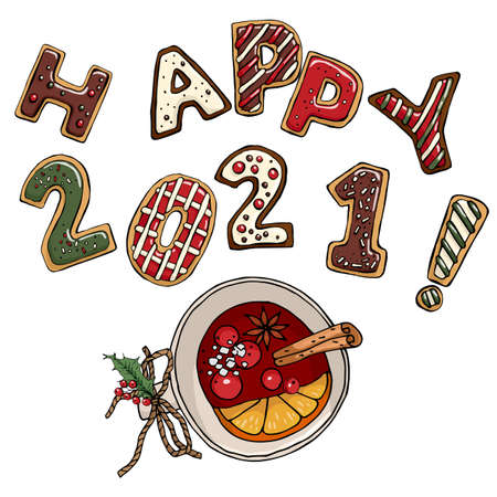 Vector new year's composition wish Happy 2021! Cute cookies in the shape of letters and numbers isolated on a white background and mug of warm red wine with fruit, berries and cinnamon
