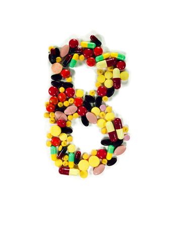 studio b: Colorful drug character B, white isolate, studio shot.