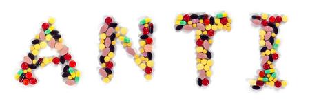 anti: Drug alphabet illustration mixed to word ANTI