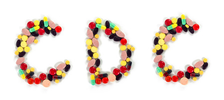 cdc: Drug alphabet illustration mixed to word CDC