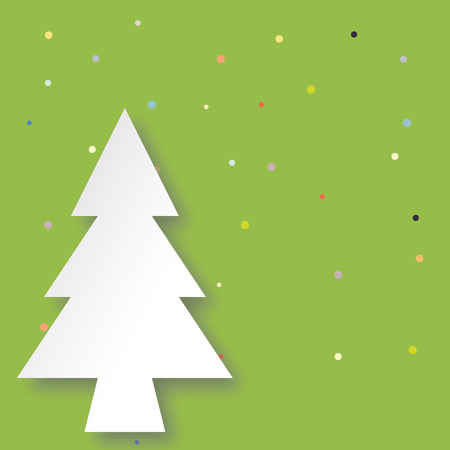 xmas background: White christmas tree with green background and colorful snow dot. Illustration