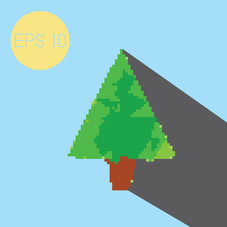 Pixel christmas tree with light blue background. Vector