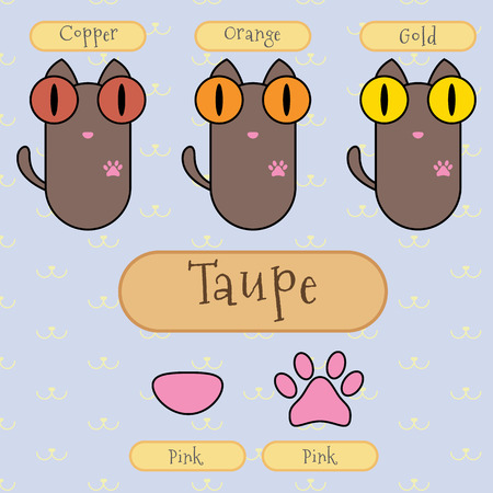 taupe: Infographic show detail of taupe color cat, eye color, nose color and foot color.