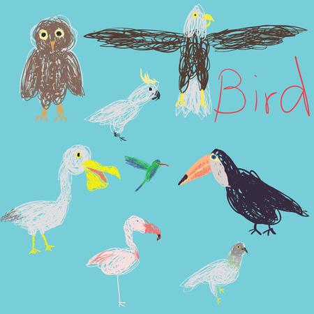 pigeon owl: Eight birds free hand drawing, cartoon design. Illustration