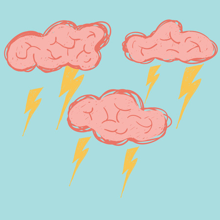 neuroscience: Brain cloud are stroming and sparking, hand drawing line vector.
