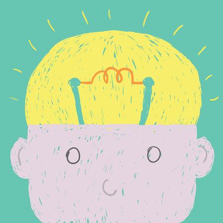 open mind: Head bulb cartoon vector show idea of brain.