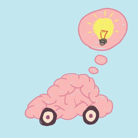 free thinking: Brain car free hand drawing vector show thinking move to idea. Illustration