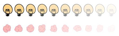 Brain and bulb loading bar move from left to right fade from 100 to 10 opacity. Vector