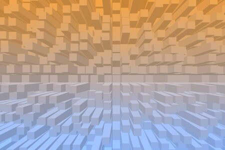 volumetric: Abstract 3D orange and blue pixel.