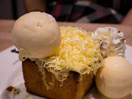 chese: Honey toase with chese and ice-cream.
