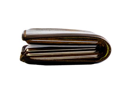 La billetera de espesor en blanco aislado.