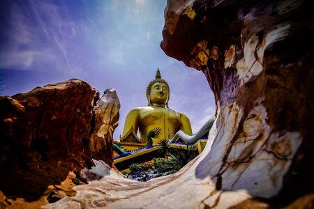 buddha image: buddha image in mountain Stock Photo