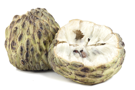 custard apple: custard apple broken on white background