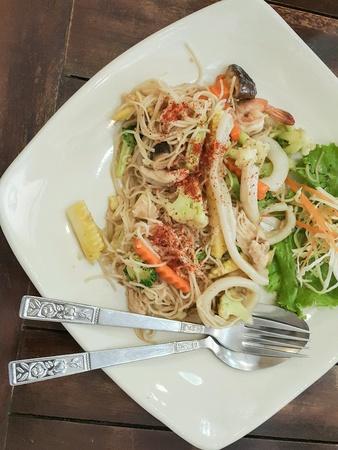 silver: Noodle hongkong lunch Stock Photo