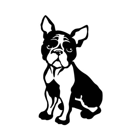 vector drawing of a dog terrier in profile, a cliche for cutting on a white isolated background