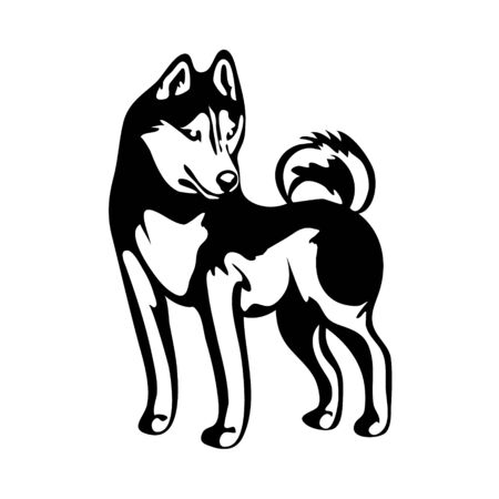 vector drawing of a dog husky in profile, a cliche for cutting on a white isolated background
