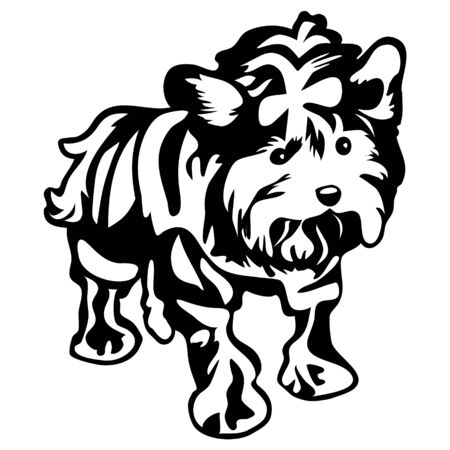 vector drawing of a dog york in profile, a cliche for cutting on a white isolated background