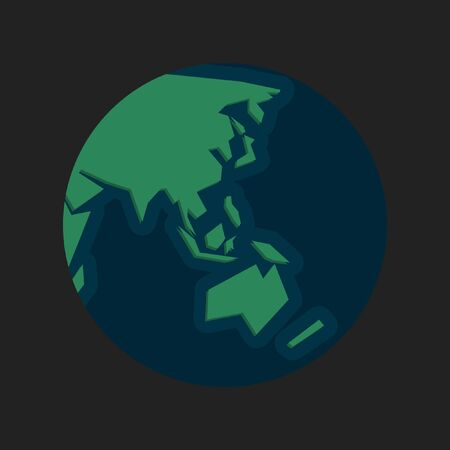 Minimalist and simplified lines world map globe in blue and green focused in Asia and Oceania 向量圖像