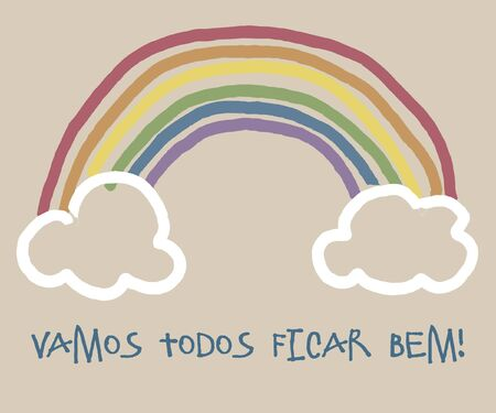Everything will be fine, is gonna be alright in hand drawing letters and a rainbow with clouds drawn by a child. Art used by italians during quarantine corona virus flu, the covid 19.