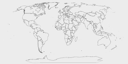 World map - hand drawn lines like sketch world map in greyscale