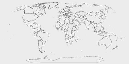 Mapa del mundo: líneas dibujadas a mano como bosquejo del mapa del mundo en escala de grises