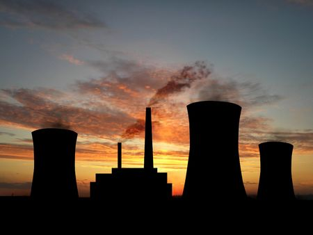 Power station over orange sky (see more in my portfolio) photo