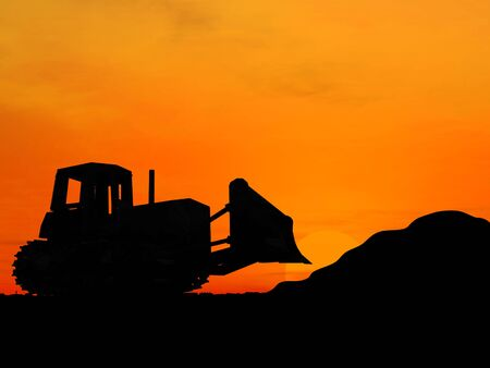 Heavy bulldozer over orange background  photo