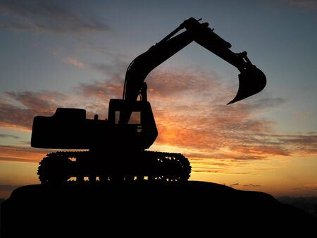 Heavy excavator over orange background  Stock Photo