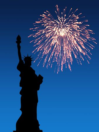 holiday lights display: July 4th Fireworks, Statue of Liberty Stock Photo