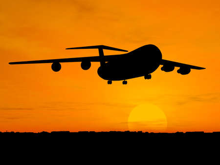 Silhouette of airplane over orange sky Stock Photo - 1470925