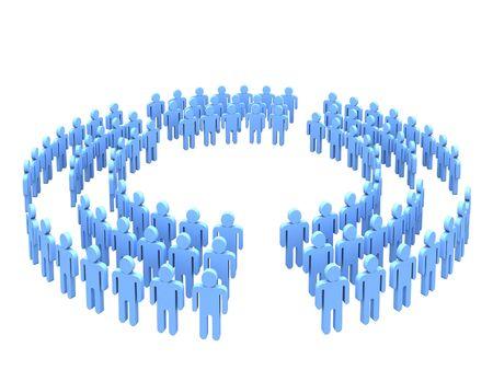 big five: Big team in five parts of circle