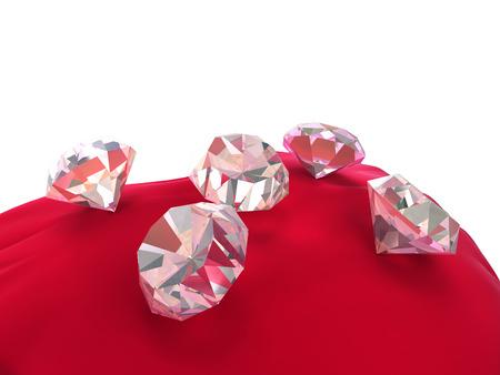 caustic: Five 3d diamonds on red velvet