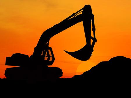 Heavy excavator over orange background 3d Stock Photo - 1470984