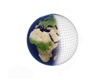 Earth over white background with mesh photo