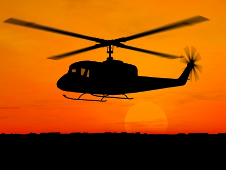 blackhawk helicopter: Helicopter 3d military over orange sky
