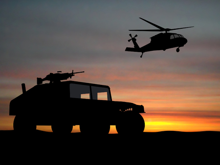 hummer: Silhouette of truck over sunset with helicopter