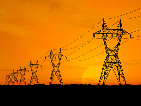 3D Electric powerlines over sunrise Stock Photo - 1471001