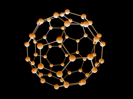 Orange molecule over black  photo