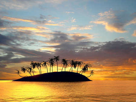 Baia di isole Hawaii sul tramonto