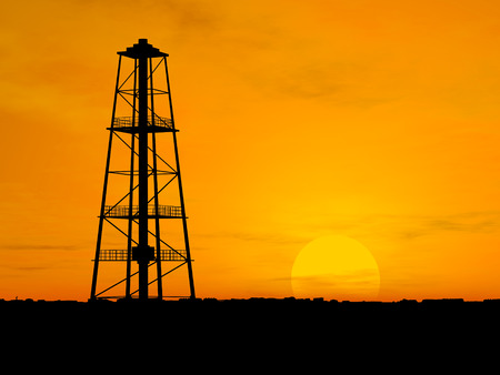 'rig out': Oil pump silhouette over orange sky