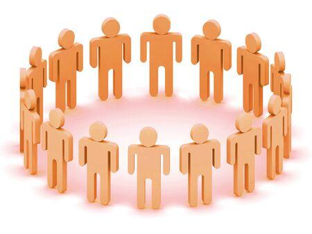 Logo Team of orange  people, 3d rendering Stock Photo - 1470961