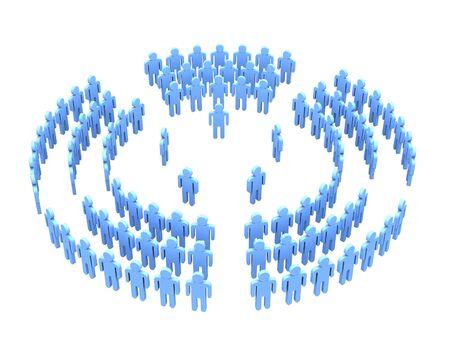sectores: Imagen 3D de personas con equipos de directores en cinco sectores