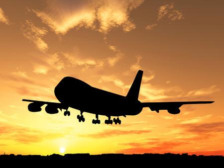 boeing: Silhouette di aereo su tramonto