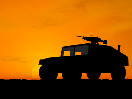 Silhouette of truck over sunset photo