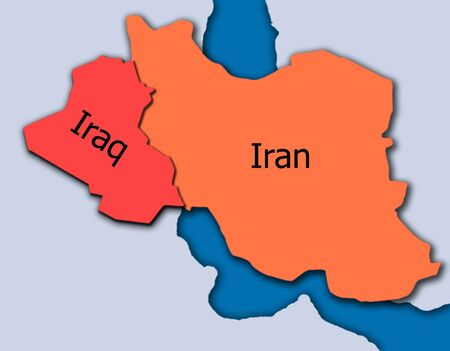 middle east fighting: Iran and Iraq map 3D