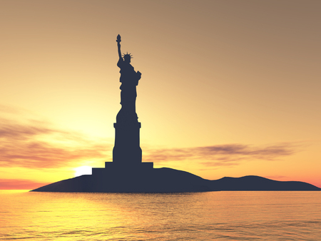 liberty: Liberty Statue Silhouette over sunset