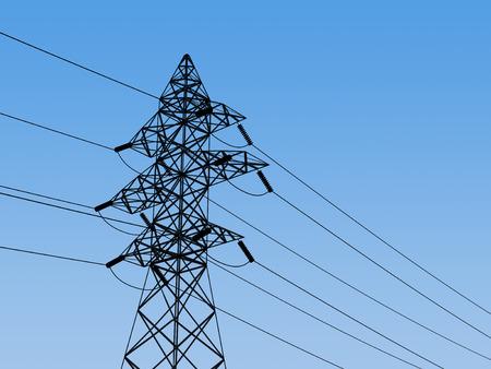 over voltage: High voltage electricity pylon over blue sky