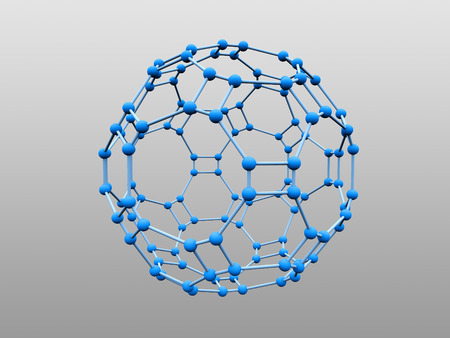 Blue molecule with blue atoms over grey background (see more in my portfolio) photo