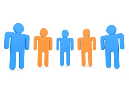 Five people in team 3d Stock Photo - 1470890